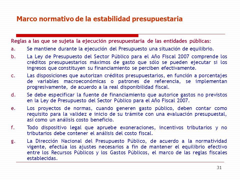 31 Marco normativo de la estabilidad presupuestaria Reglas a las que se sujeta la ejecución presupuestaria de las entidades públicas: a.Se mantiene du