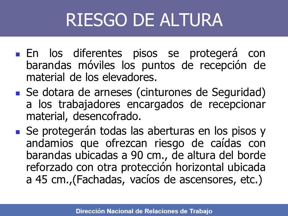 Dirección Nacional de Relaciones de Trabajo RIESGO DE ALTURA En los diferentes pisos se protegerá con barandas móviles los puntos de recepción de material de los elevadores.