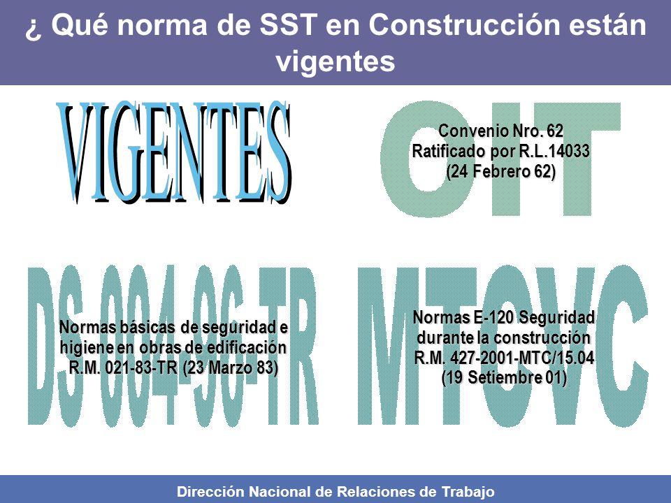 Dirección Nacional de Relaciones de Trabajo Normas básicas de seguridad e higiene en obras de edificación R.M.