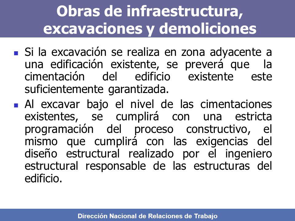 Dirección Nacional de Relaciones de Trabajo Obras de infraestructura, excavaciones y demoliciones Si la excavación se realiza en zona adyacente a una edificación existente, se preverá que la cimentación del edificio existente este suficientemente garantizada.