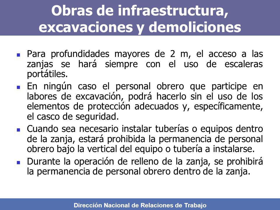 Dirección Nacional de Relaciones de Trabajo Obras de infraestructura, excavaciones y demoliciones Para profundidades mayores de 2 m, el acceso a las zanjas se hará siempre con el uso de escaleras portátiles.