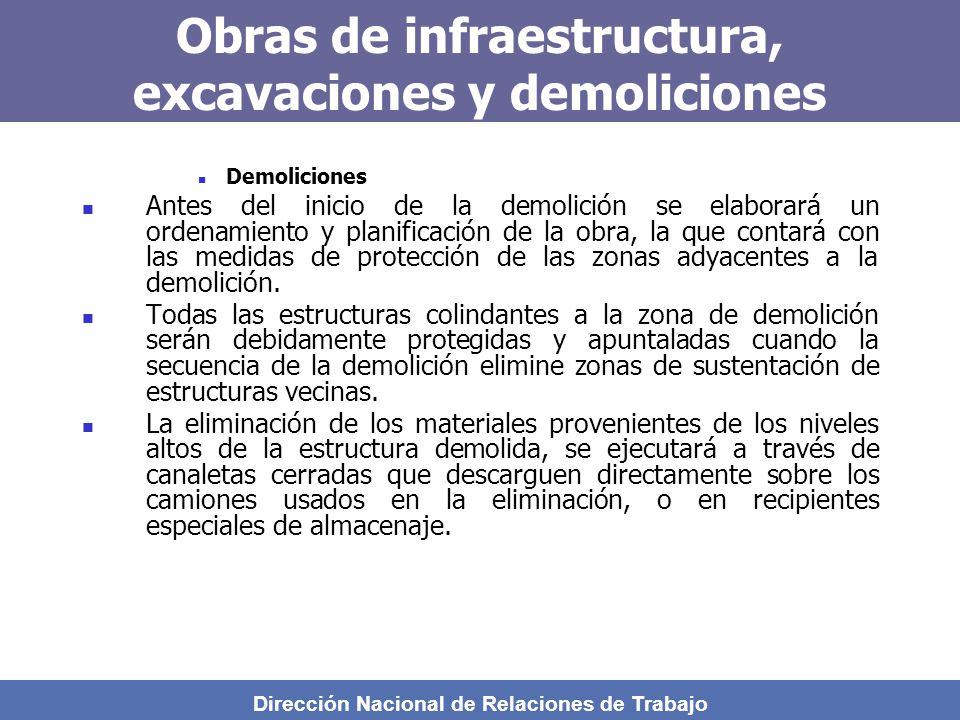 Dirección Nacional de Relaciones de Trabajo Obras de infraestructura, excavaciones y demoliciones Demoliciones Antes del inicio de la demolición se elaborará un ordenamiento y planificación de la obra, la que contará con las medidas de protección de las zonas adyacentes a la demolición.