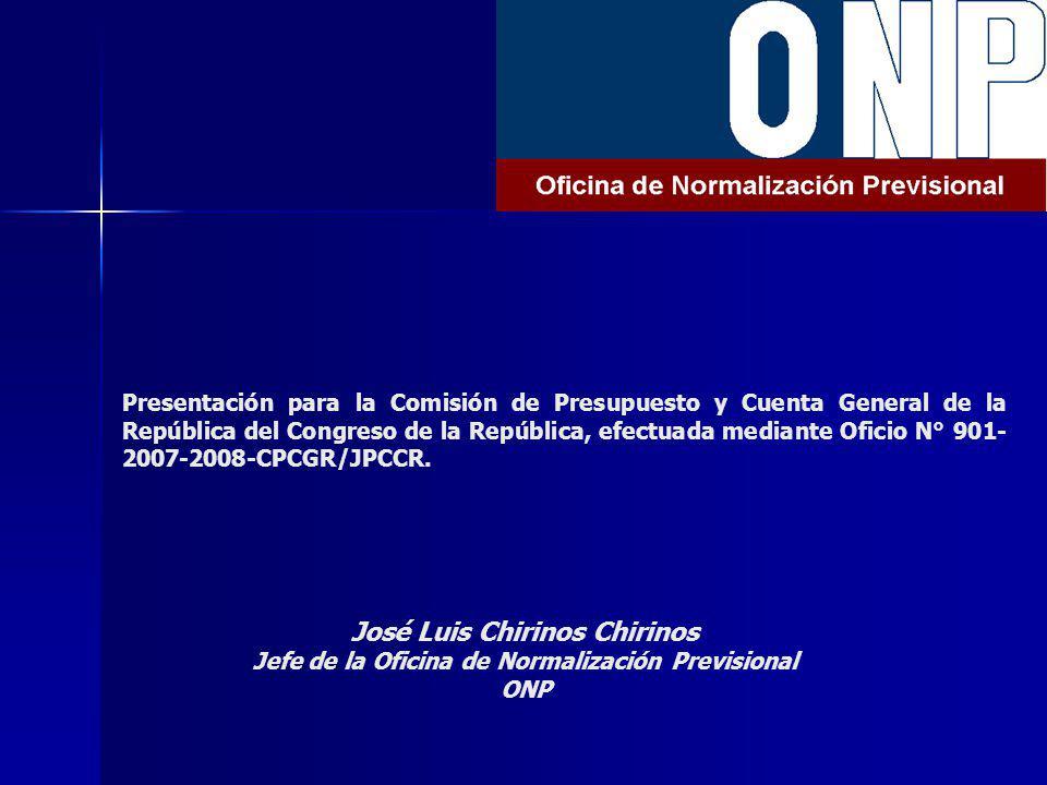 Presentación para la Comisión de Presupuesto y Cuenta General de la República del Congreso de la República, efectuada mediante Oficio N° 901- 2007-2008-CPCGR/JPCCR.