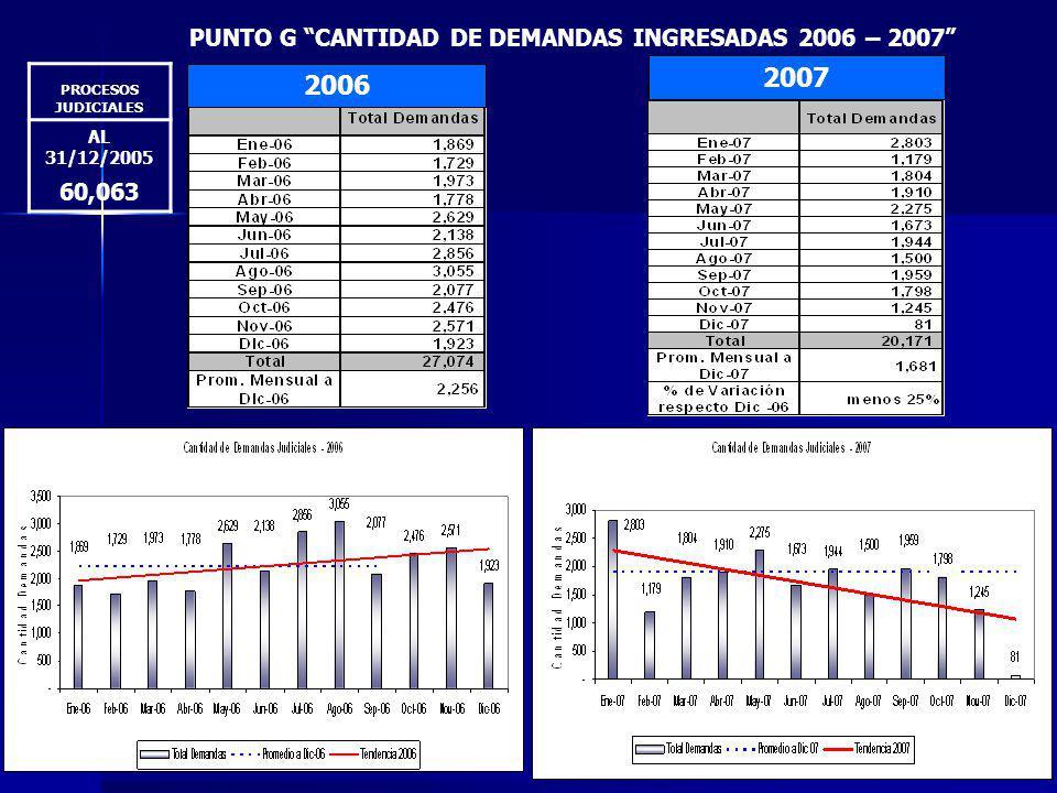 PUNTO G CANTIDAD DE DEMANDAS INGRESADAS 2006 – 2007 2006 2007 PROCESOS JUDICIALES AL 31/12/2005 60,063
