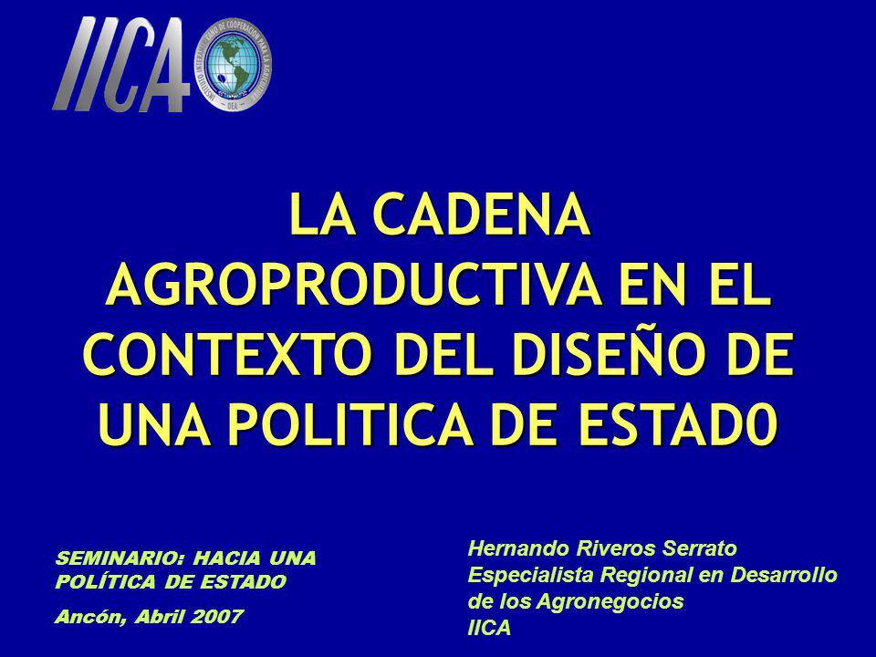 LA CADENA AGROPRODUCTIVA EN EL CONTEXTO DEL DISEÑO DE UNA POLITICA DE ESTAD0 SEMINARIO: HACIA UNA POLÍTICA DE ESTADO Ancón, Abril 2007 Hernando Rivero