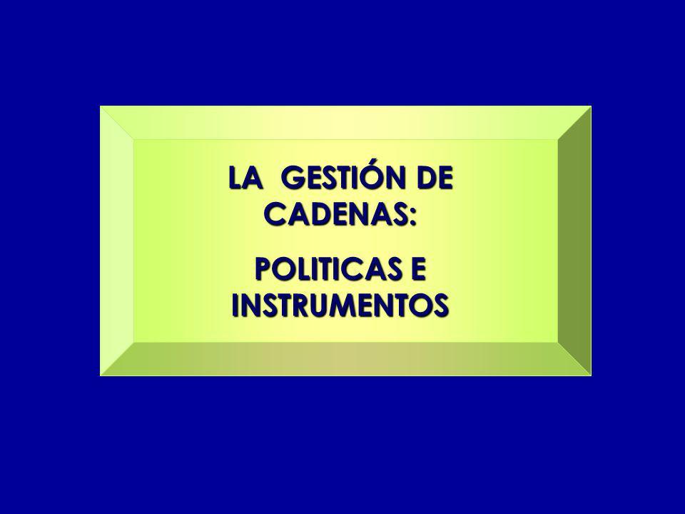 LA GESTIÓN DE CADENAS: POLITICAS E INSTRUMENTOS