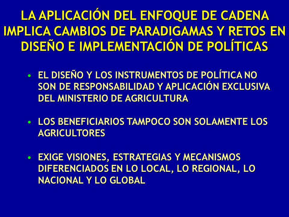 EL DISEÑO Y LOS INSTRUMENTOS DE POLÍTICA NO SON DE RESPONSABILIDAD Y APLICACIÓN EXCLUSIVA DEL MINISTERIO DE AGRICULTURAEL DISEÑO Y LOS INSTRUMENTOS DE