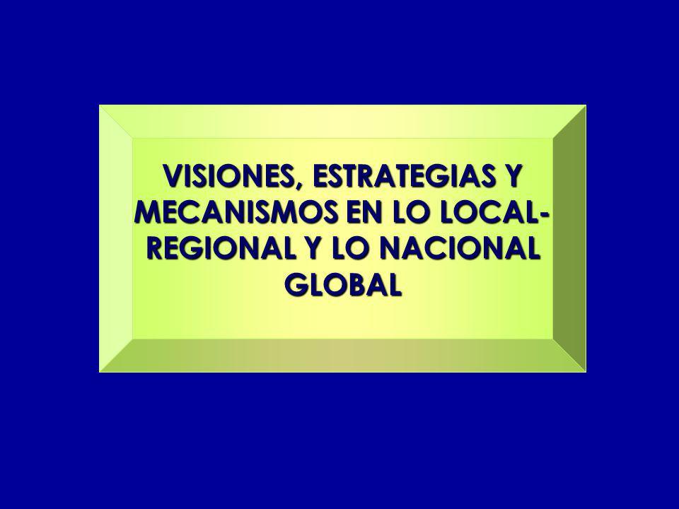 VISIONES, ESTRATEGIAS Y MECANISMOS EN LO LOCAL- REGIONAL Y LO NACIONAL GLOBAL