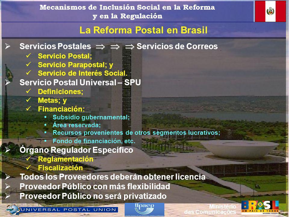 La Reforma Postal en Brasil Servicios Postales Servicios de Correos Servicio Postal; Servicio Parapostal; y Servicio de Interés Social.
