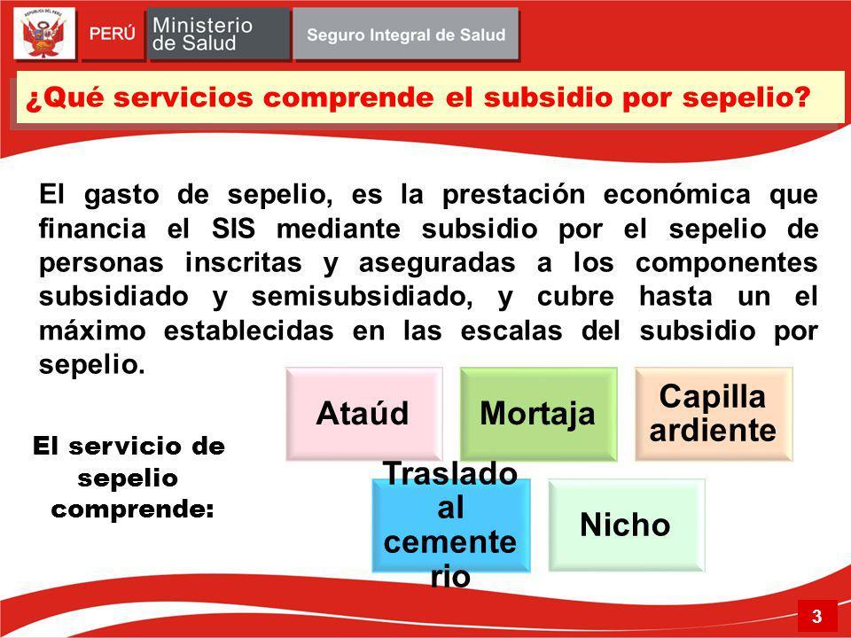 ¿Qué servicios comprende el subsidio por sepelio.