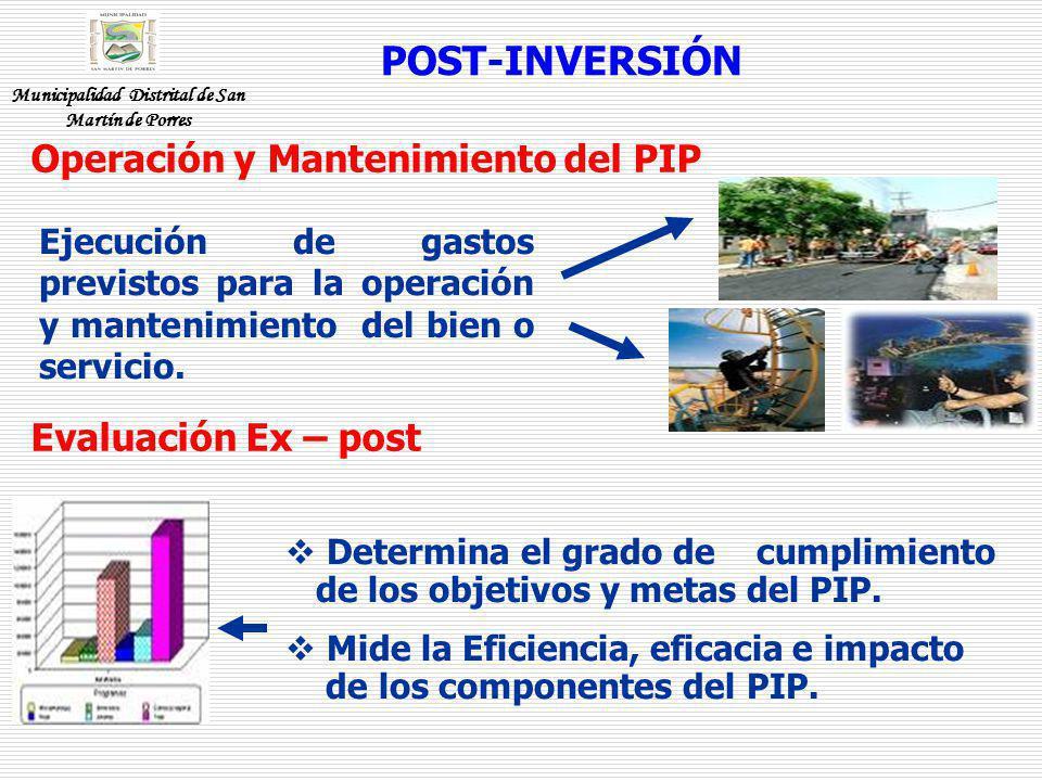 POST-INVERSIÓN Evaluación Ex – post Determina el grado de cumplimiento de los objetivos y metas del PIP. Mide la Eficiencia, eficacia e impacto de los