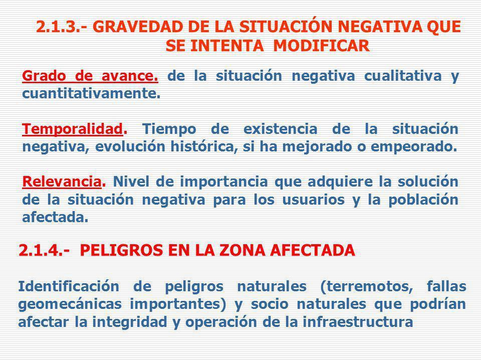 2.1.3.- GRAVEDAD DE LA SITUACIÓN NEGATIVA QUE SE INTENTA MODIFICAR Grado de avance. de la situación negativa cualitativa y cuantitativamente. Temporal