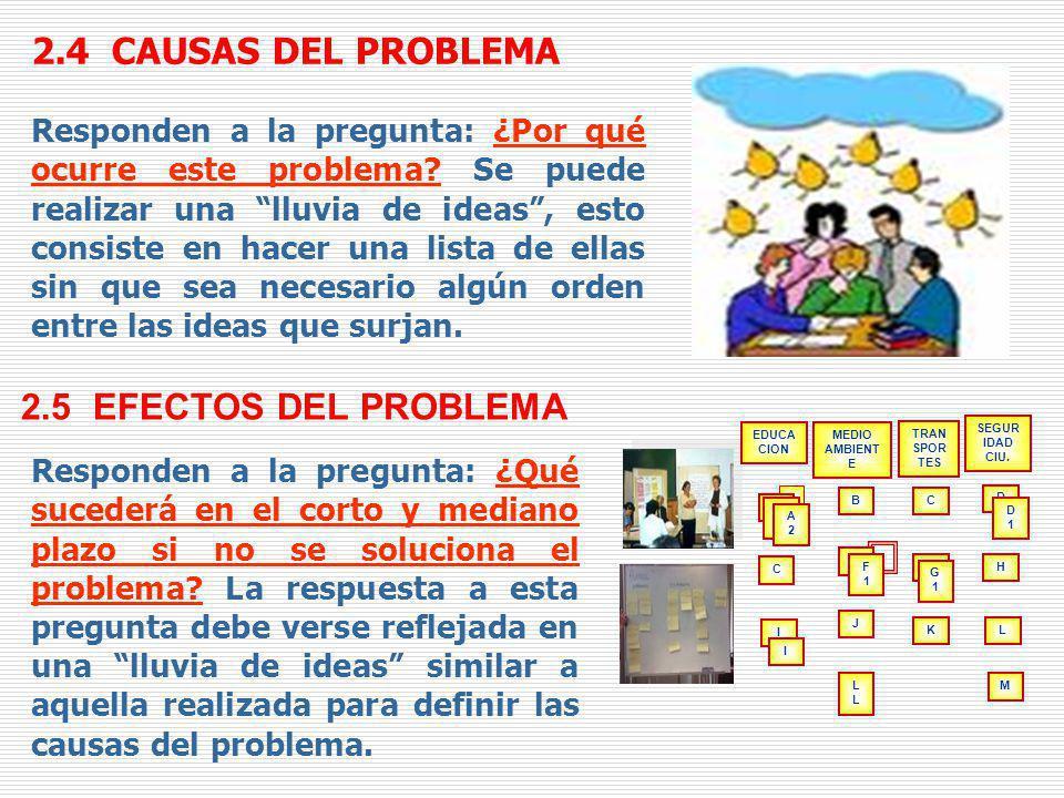 2.4 CAUSAS DEL PROBLEMA Responden a la pregunta: ¿Por qué ocurre este problema? Se puede realizar una lluvia de ideas, esto consiste en hacer una list