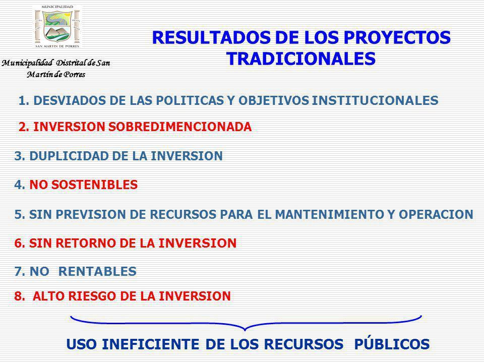 RESULTADOS DE LOS PROYECTOS TRADICIONALES 1. DESVIADOS DE LAS POLITICAS Y OBJETIVOS INSTITUCIONALES 3. DUPLICIDAD DE LA INVERSION 4. NO SOSTENIBLES 5.