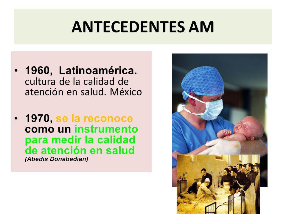 ANTECEDENTES AM 1960, Latinoamérica. cultura de la calidad de atención en salud. México 1970, se la reconoce como un instrumento para medir la calidad