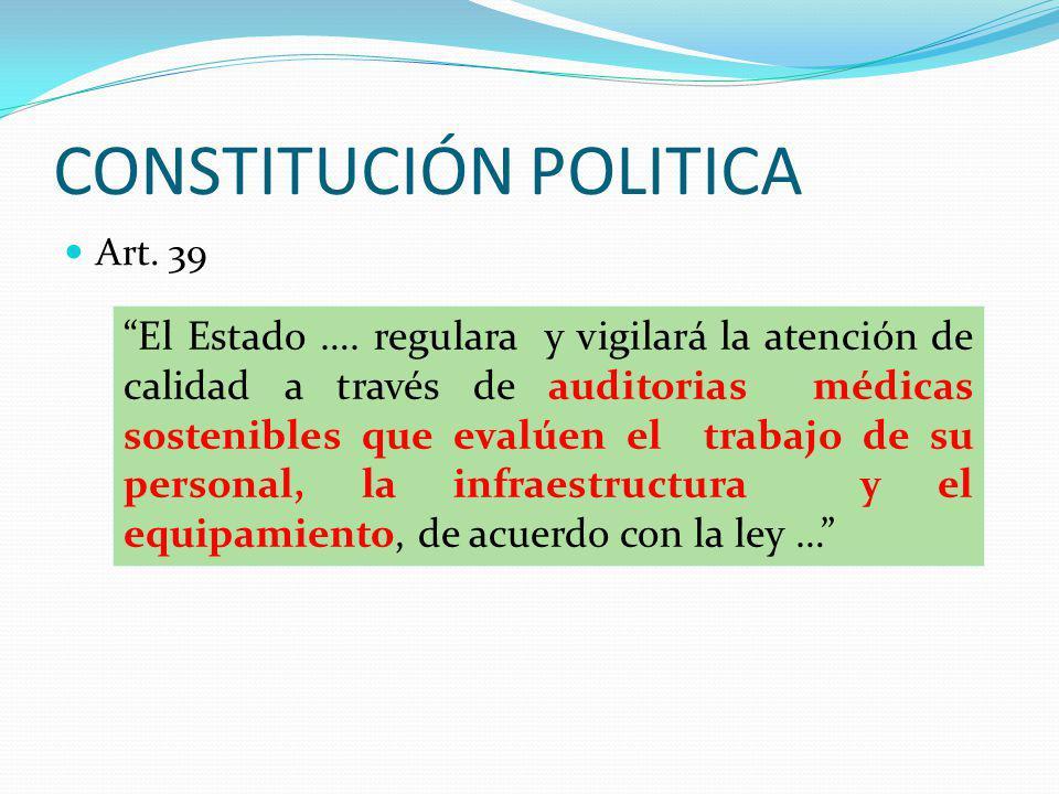 CONSTITUCIÓN POLITICA Art. 39 El Estado …. regulara y vigilará la atención de calidad a través de auditorias médicas sostenibles que evalúen el trabaj