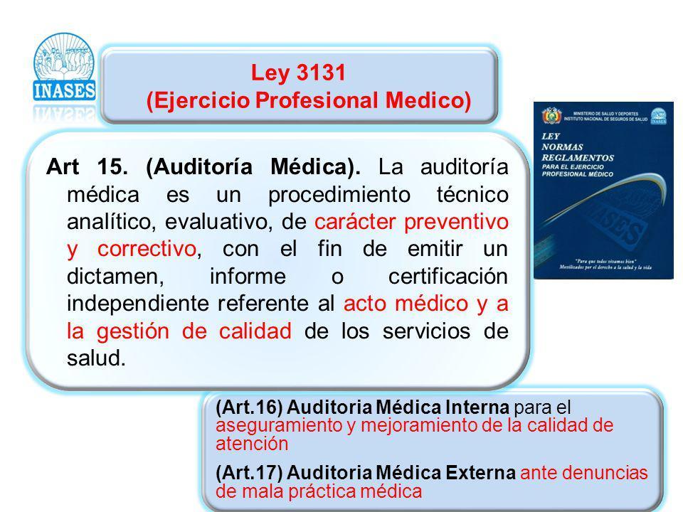 Ley 3131 (Ejercicio Profesional Medico) (Art.16) Auditoria Médica Interna para el aseguramiento y mejoramiento de la calidad de atención (Art.17) Audi