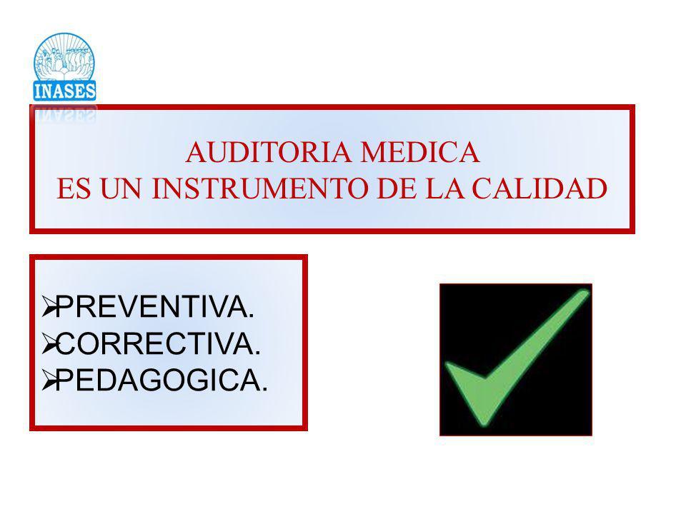 AUDITORIA MEDICA ES UN INSTRUMENTO DE LA CALIDAD PREVENTIVA. CORRECTIVA. PEDAGOGICA.