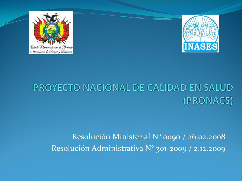 Resolución Ministerial N° 0090 / 26.02.2008 Resolución Administrativa N° 301-2009 / 2.12.2009