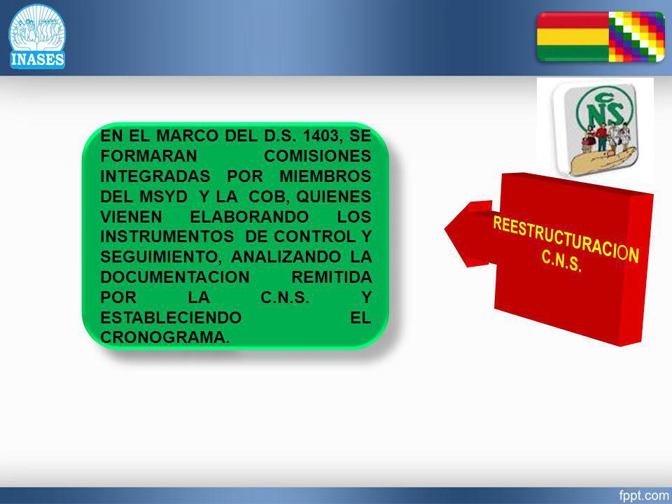 EN EL MARCO DEL D.S. 1403, SE FORMARAN COMISIONES INTEGRADAS POR MIEMBROS DEL MSYD Y LA COB, QUIENES VIENEN ELABORANDO LOS INSTRUMENTOS DE CONTROL Y S