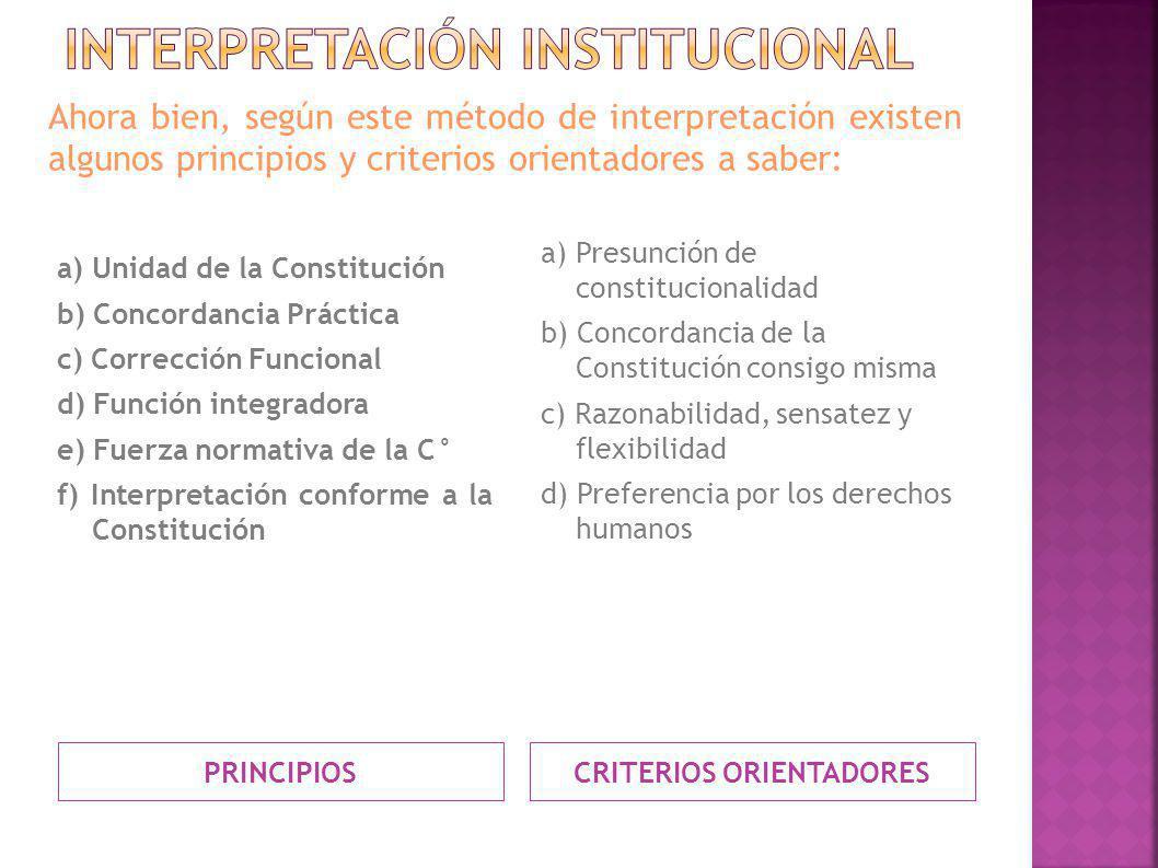 PRINCIPIOS CRITERIOS ORIENTADORES a) Unidad de la Constitución b) Concordancia Práctica c) Corrección Funcional d) Función integradora e) Fuerza norma