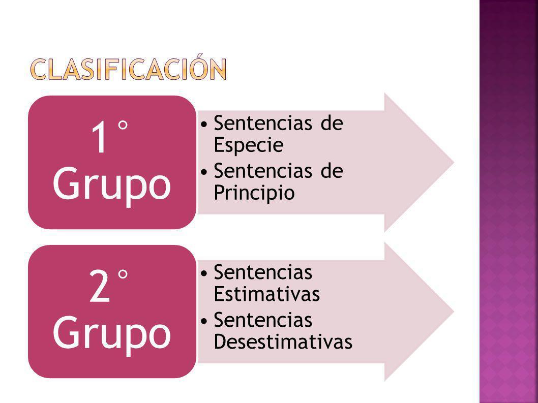 Sentencias de Especie Sentencias de Principio 1° Grupo Sentencias Estimativas Sentencias Desestimativas 2° Grupo