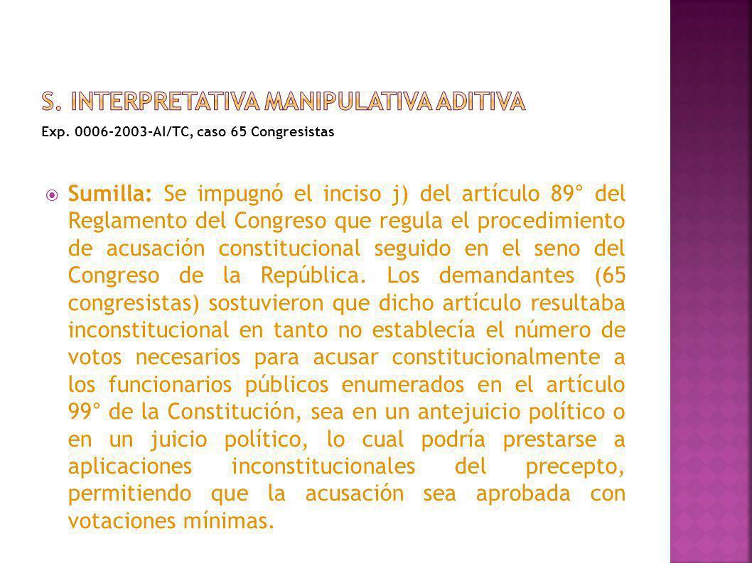 Exp. 0006-2003-AI/TC, caso 65 Congresistas Sumilla: Se impugnó el inciso j) del artículo 89° del Reglamento del Congreso que regula el procedimiento d