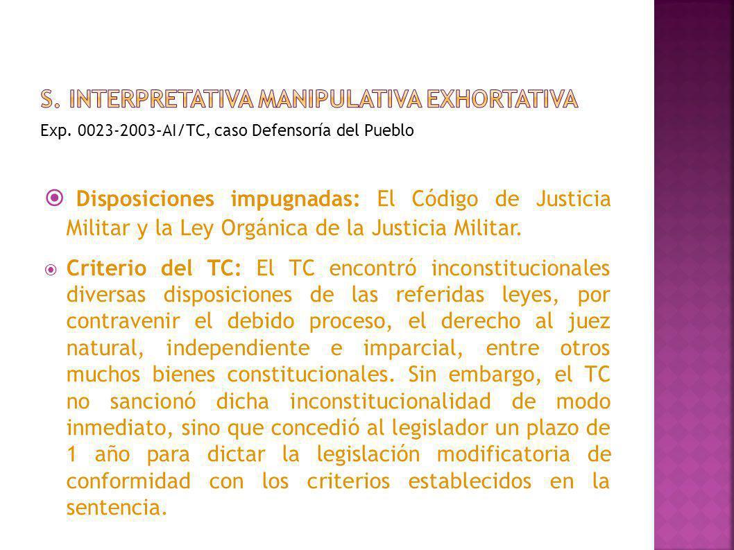 Exp. 0023-2003–AI/TC, caso Defensoría del Pueblo Disposiciones impugnadas: El Código de Justicia Militar y la Ley Orgánica de la Justicia Militar. Cri