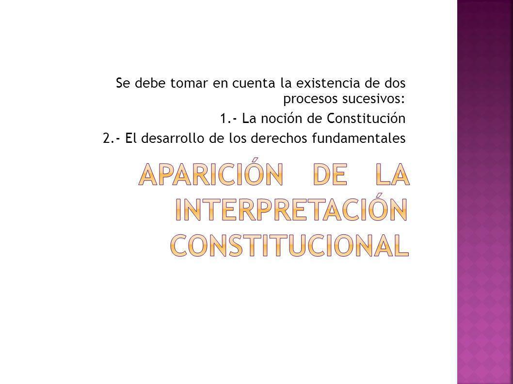 Se debe tomar en cuenta la existencia de dos procesos sucesivos: 1.- La noción de Constitución 2.- El desarrollo de los derechos fundamentales