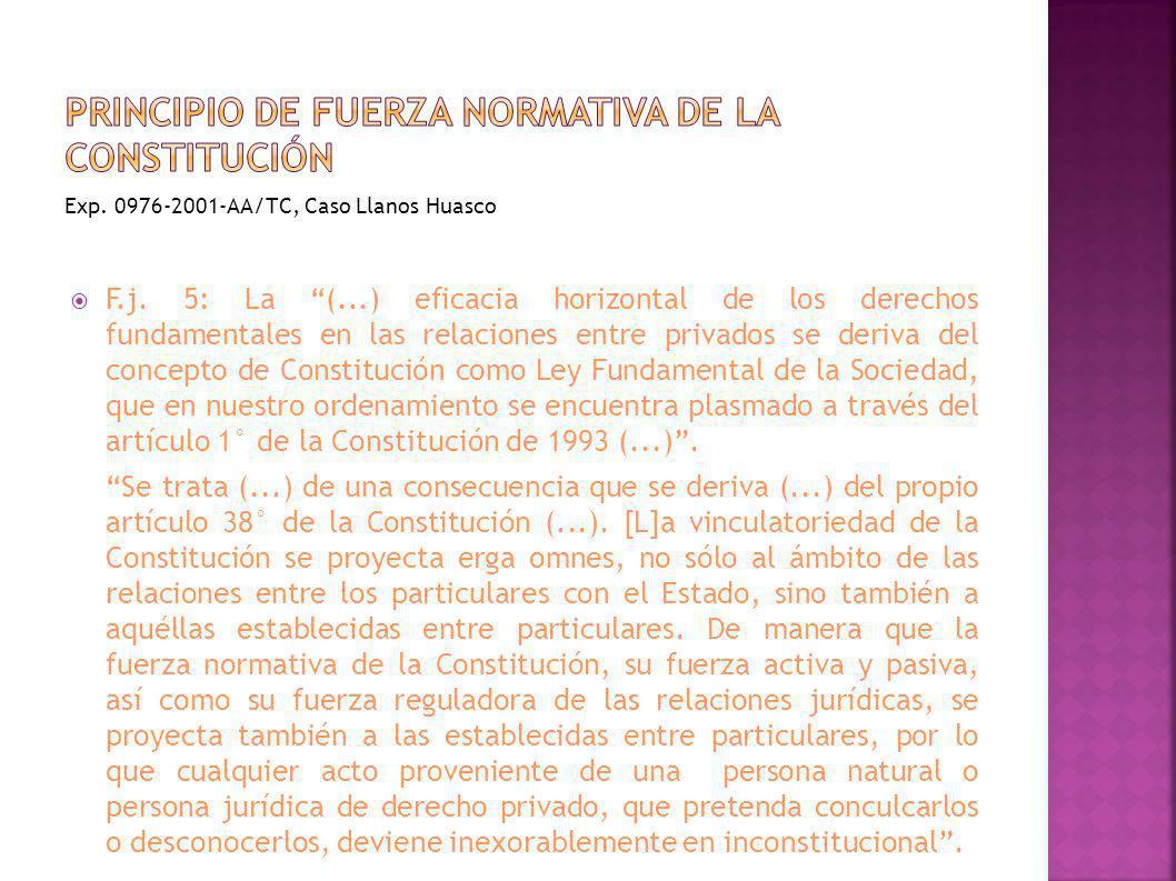 F.j. 5: La (...) eficacia horizontal de los derechos fundamentales en las relaciones entre privados se deriva del concepto de Constitución como Ley Fu
