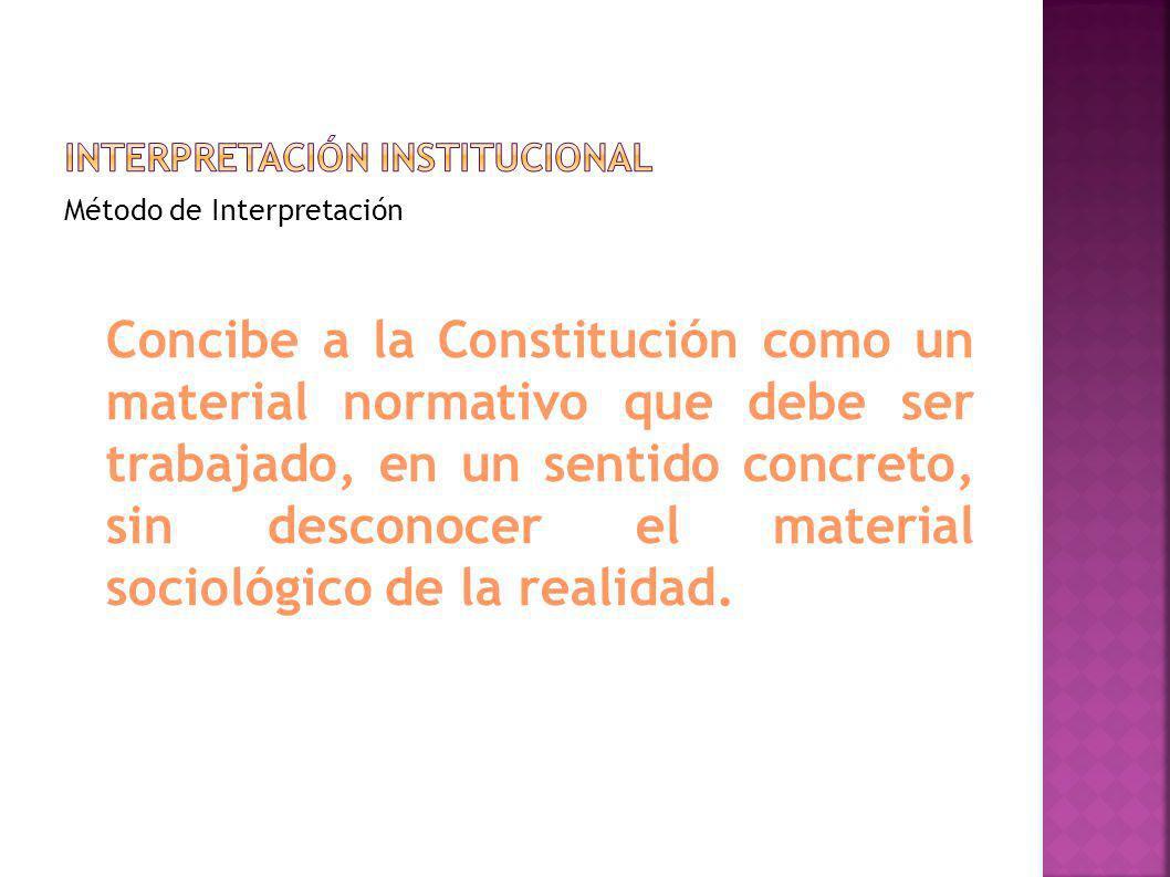 Método de Interpretación Concibe a la Constitución como un material normativo que debe ser trabajado, en un sentido concreto, sin desconocer el materi