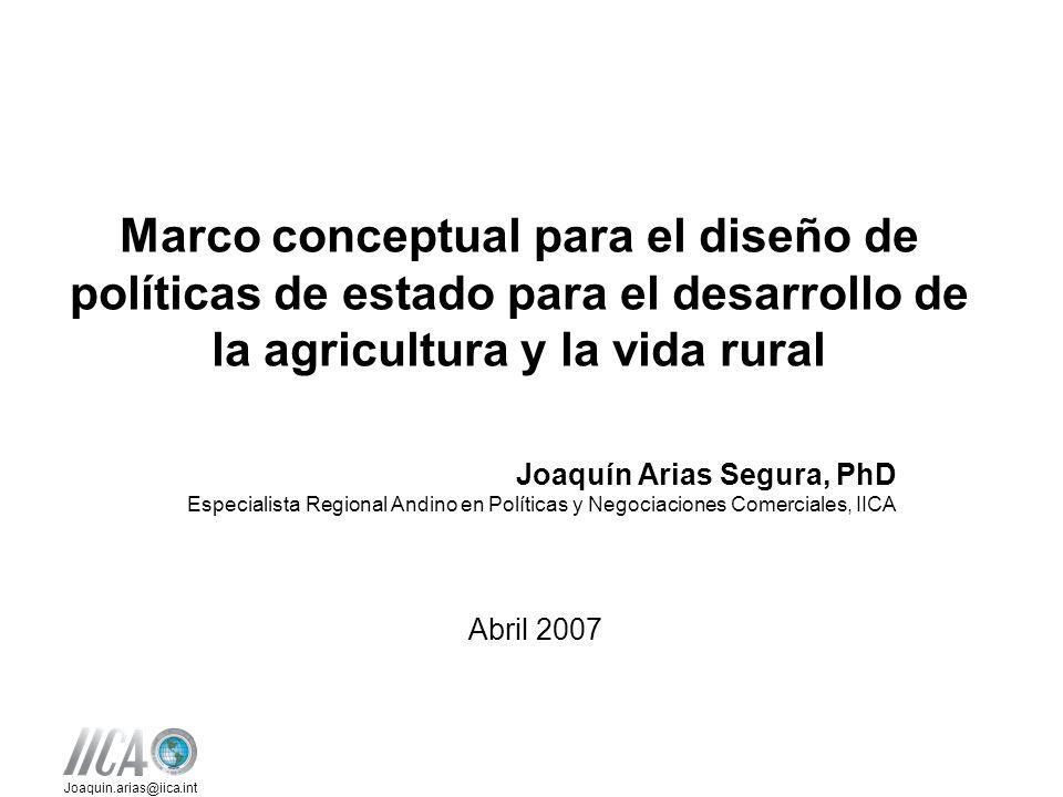 Joaquin.arias@iica.int Marco conceptual para el diseño de políticas de estado para el desarrollo de la agricultura y la vida rural Joaquín Arias Segura, PhD Especialista Regional Andino en Políticas y Negociaciones Comerciales, IICA Abril 2007