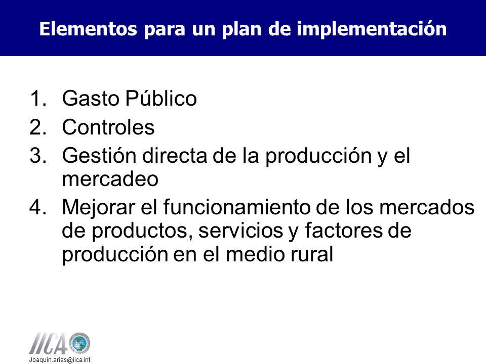 Joaquin.arias@iica.int 1.Gasto Público 2.Controles 3.Gestión directa de la producción y el mercadeo 4.Mejorar el funcionamiento de los mercados de productos, servicios y factores de producción en el medio rural Elementos para un plan de implementación