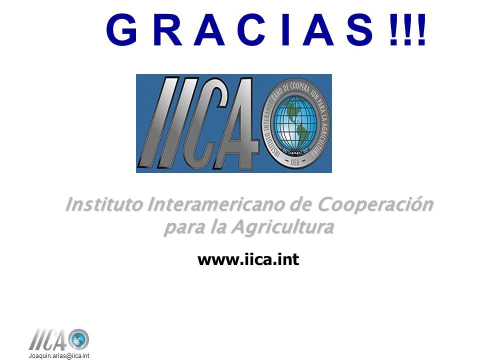 Joaquin.arias@iica.int Instituto Interamericano de Cooperación para la Agricultura www.iica.int G R A C I A S !!!