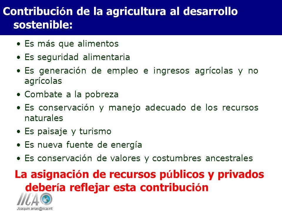 Joaquin.arias@iica.int Es más que alimentos Es seguridad alimentaria Es generación de empleo e ingresos agrícolas y no agrícolas Combate a la pobreza