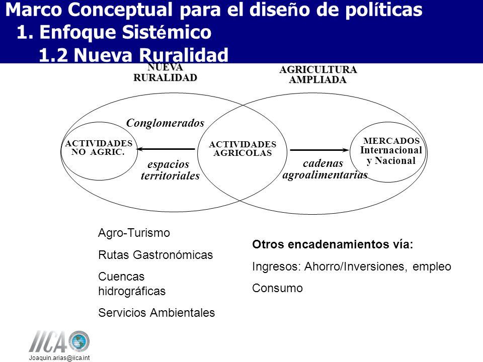 Joaquin.arias@iica.int AGRICULTURA AMPLIADA NUEVA RURALIDAD espacios territoriales ACTIVIDADES NO AGRIC. ACTIVIDADES AGRICOLAS cadenas agroalimentaria