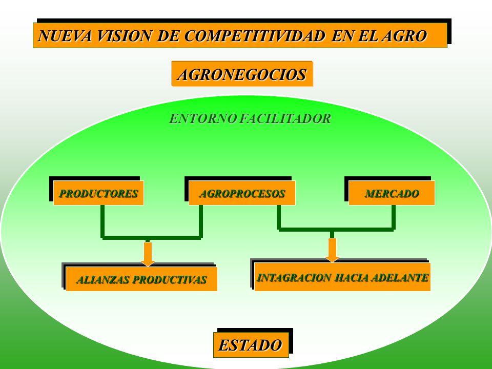 FORTALECER NEGOCIACIONES INTERNACIONALES: CAN, MERCOSRUR, ALCA, UE REDUCCION ARANCEIARIA : BIENES DE CAPITAL LIBRE REINVERSION DE UTILIDADES INCORPORACION AGROPROCESOS EN LEY DE PROMOCION AGRARIA INVERSION LINEA DE CREDITO