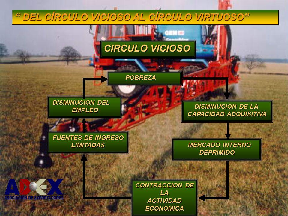CONTRACCION DE LA ACTIVIDAD ECONOMICA DISMINUCION DE LA CAPACIDAD ADQUISITIVA MERCADO INTERNO MERCADO INTERNODEPRIMIDO DISMINUCION DEL EMPLEO FUENTES DE INGRESO LIMITADAS POBREZA POBREZA CIRCULO VICIOSO DEL CÍRCULO VICIOSO AL CÍRCULO VIRTUOSO DEL CÍRCULO VICIOSO AL CÍRCULO VIRTUOSO