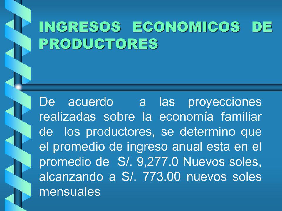 INGRESOS ECONOMICOS DE PRODUCTORES De acuerdo a las proyecciones realizadas sobre la economía familiar de los productores, se determino que el promedi