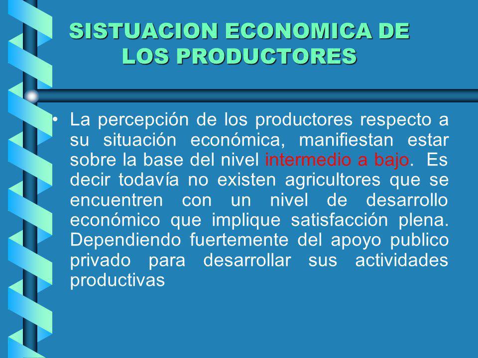 SISTUACION ECONOMICA DE LOS PRODUCTORES La percepción de los productores respecto a su situación económica, manifiestan estar sobre la base del nivel