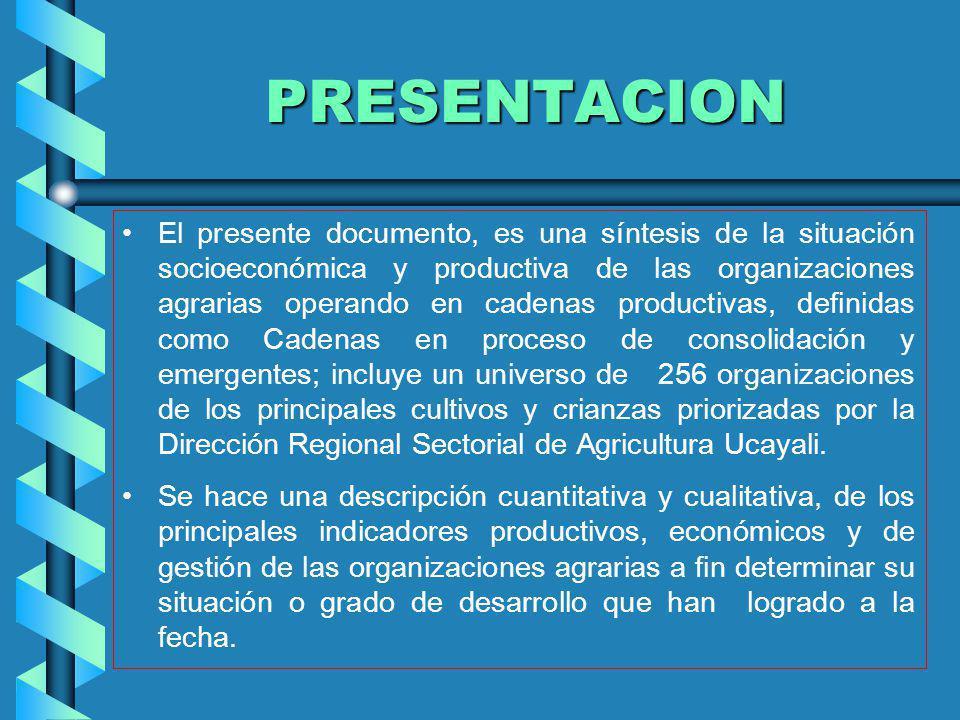 PRESENTACION El presente documento, es una síntesis de la situación socioeconómica y productiva de las organizaciones agrarias operando en cadenas pro