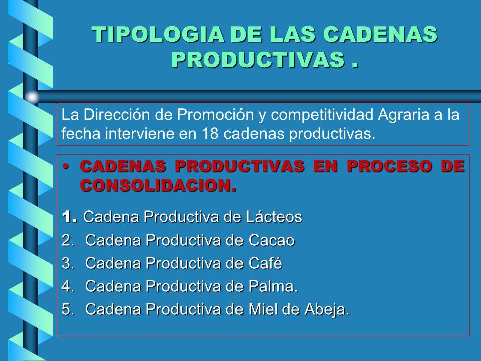 CADENAS PRODUCTIVAS EN PROCESO DE CONSOLIDACION.CADENAS PRODUCTIVAS EN PROCESO DE CONSOLIDACION. 1. Cadena Productiva de Lácteos 2.Cadena Productiva d