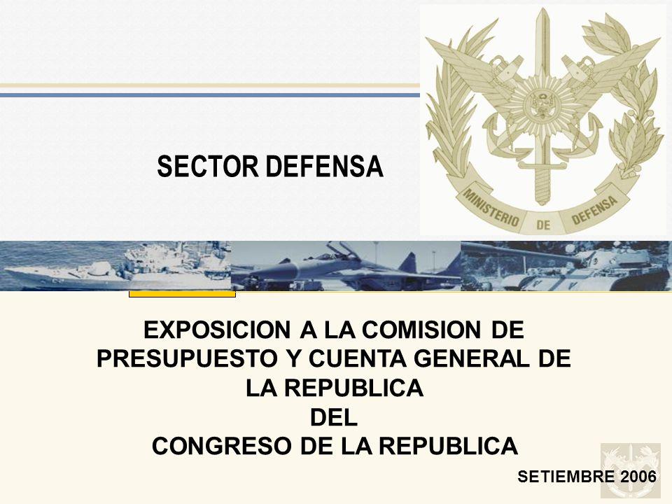 SETIEMBRE 2006 EXPOSICION A LA COMISION DE PRESUPUESTO Y CUENTA GENERAL DE LA REPUBLICA DEL CONGRESO DE LA REPUBLICA SECTOR DEFENSA