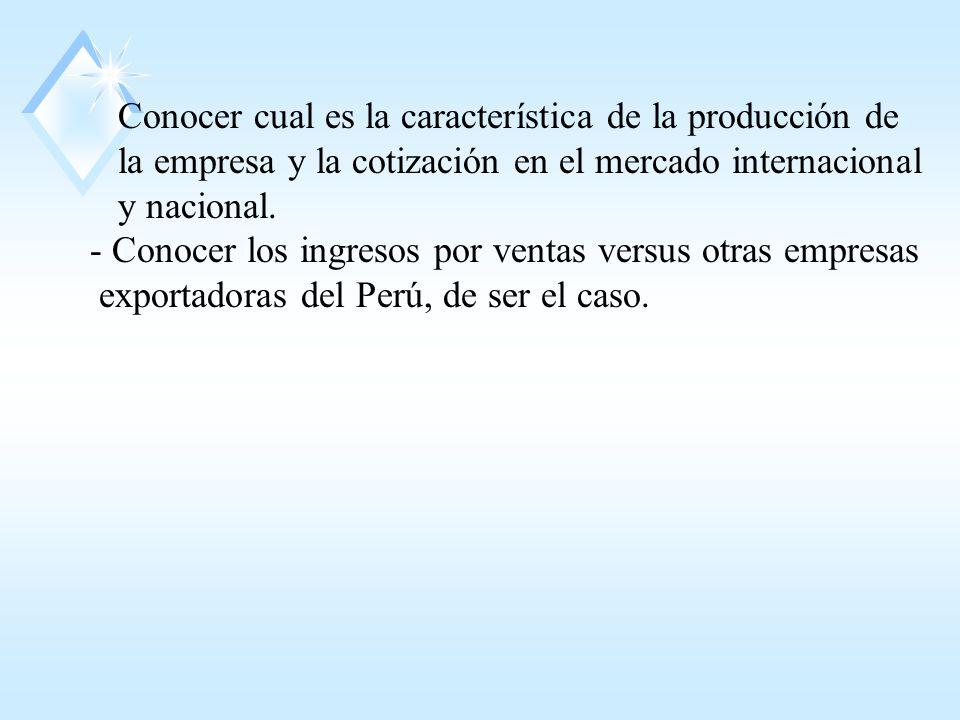 Conocer cual es la característica de la producción de la empresa y la cotización en el mercado internacional y nacional.