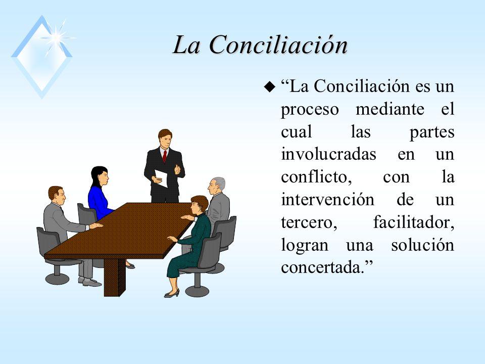La Conciliación u La Conciliación es un proceso mediante el cual las partes involucradas en un conflicto, con la intervención de un tercero, facilitador, logran una solución concertada.