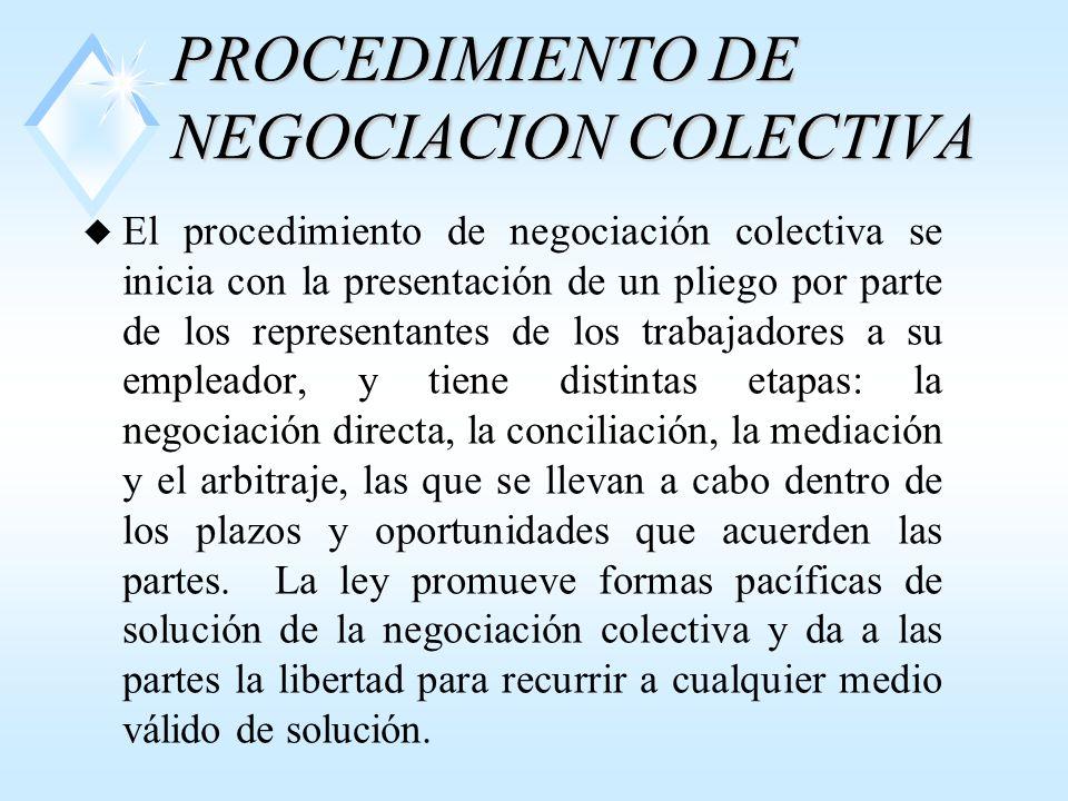 PROCEDIMIENTO DE NEGOCIACION COLECTIVA u El procedimiento de negociación colectiva se inicia con la presentación de un pliego por parte de los representantes de los trabajadores a su empleador, y tiene distintas etapas: la negociación directa, la conciliación, la mediación y el arbitraje, las que se llevan a cabo dentro de los plazos y oportunidades que acuerden las partes.