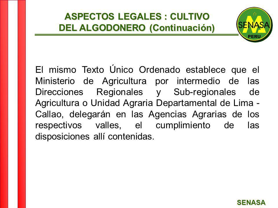 SENASA ASPECTOS LEGALES : CULTIVO DEL ALGODONERO (Continuación) El mismo Texto Único Ordenado establece que el Ministerio de Agricultura por intermedi