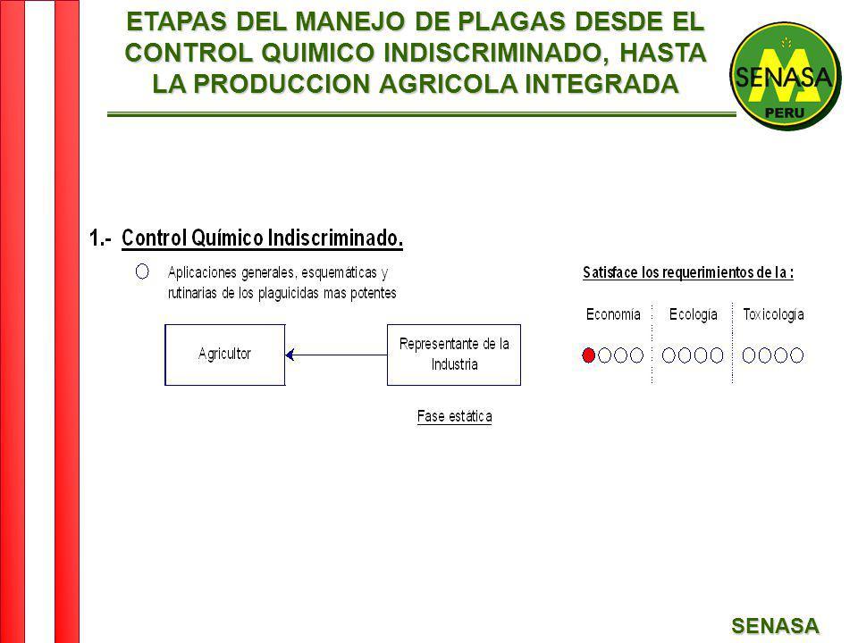SENASA ETAPAS DEL MANEJO DE PLAGAS DESDE EL CONTROL QUIMICO INDISCRIMINADO, HASTA LA PRODUCCION AGRICOLA INTEGRADA