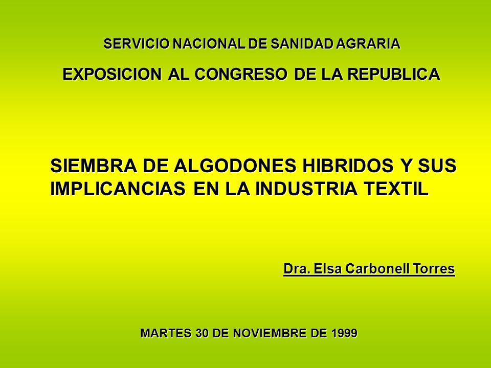 EXPOSICION AL CONGRESO DE LA REPUBLICA SIEMBRA DE ALGODONES HIBRIDOS Y SUS IMPLICANCIAS EN LA INDUSTRIA TEXTIL MARTES 30 DE NOVIEMBRE DE 1999 Dra. Els