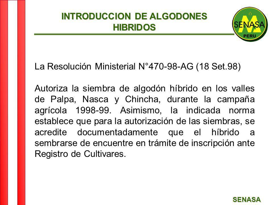 SENASA INTRODUCCION DE ALGODONES HIBRIDOS La Resolución Ministerial N°470-98-AG (18 Set.98) Autoriza la siembra de algodón híbrido en los valles de Pa